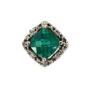 Lab Emerald & White Topaz Stud 925 Sterling Silver